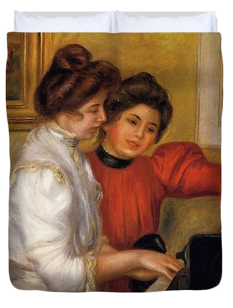 Young Girls At The Piano - 1892 Pierre-auguste Renoir Duvet Cover