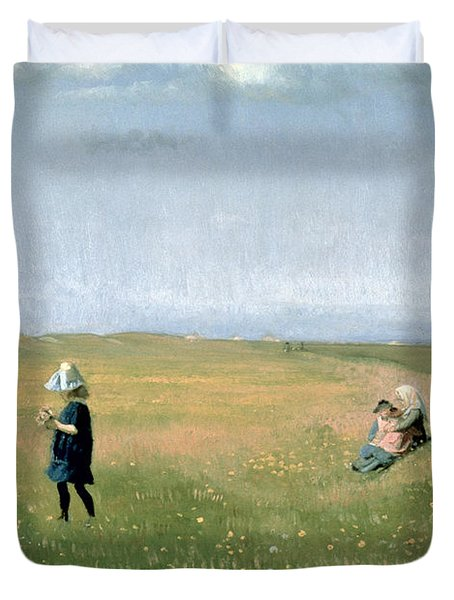 Young Girls Picking Flowers In A Meadow Duvet Cover by Michael Peter Ancher