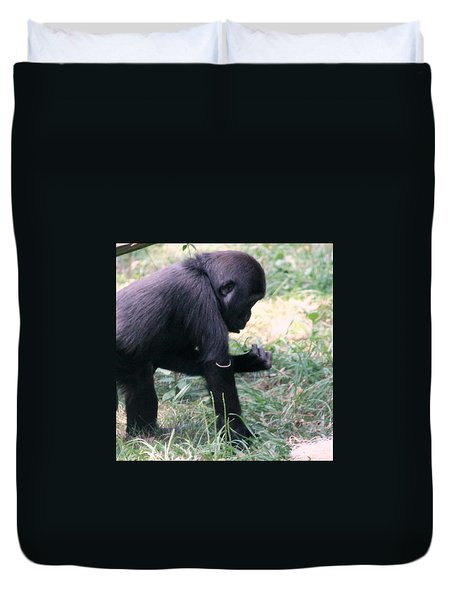 Duvet Cover featuring the photograph Young Gorilla by Laurel Talabere