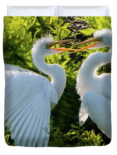 Young Great Egrets Playing Duvet Cover