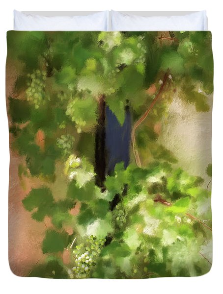 Duvet Cover featuring the digital art Young Greek Wine by Lois Bryan