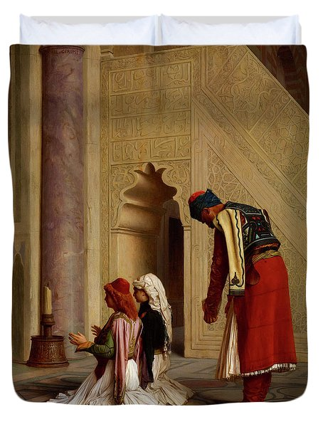 Young Greeks In The Mosque, 1865 Duvet Cover