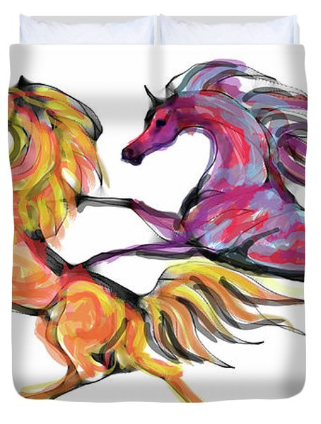 Young Horses Playing Duvet Cover by Stacey Mayer