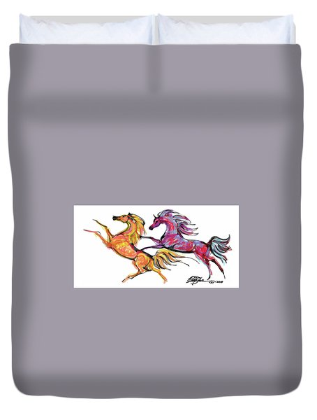 Young Horses Playing Duvet Cover