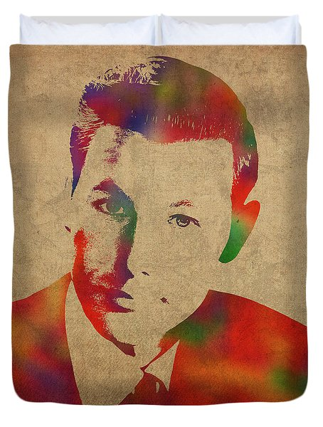 Young Johnny Carson Watercolor Portrait Duvet Cover