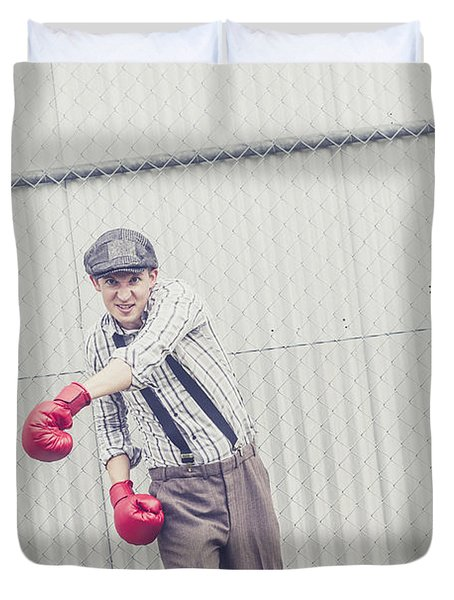 Young Male Boxer Throwing A Offensive Jab Duvet Cover