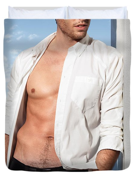Young Man In Unbuttoned Shirt Duvet Cover by Oleksiy Maksymenko