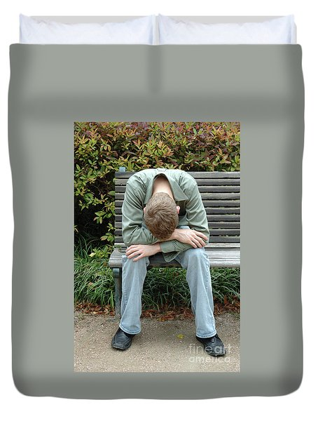 Young Man On Bench Duvet Cover