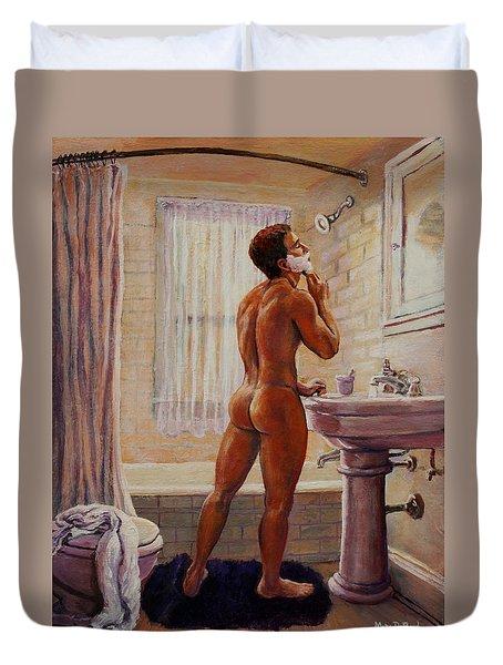 Young Man Shaving Duvet Cover