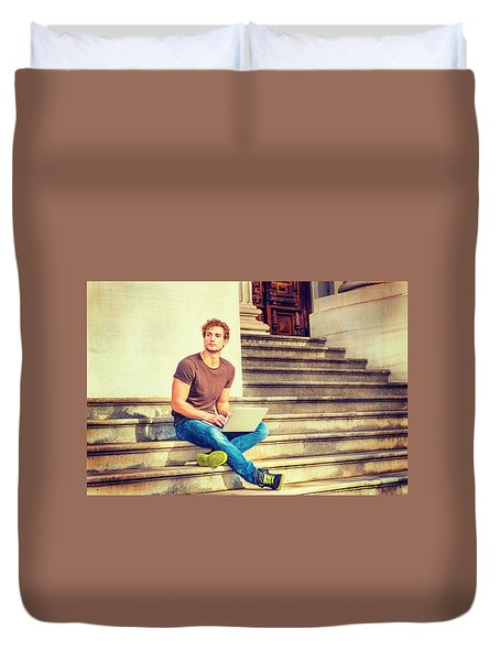 Young Man Working Outside In New York Duvet Cover