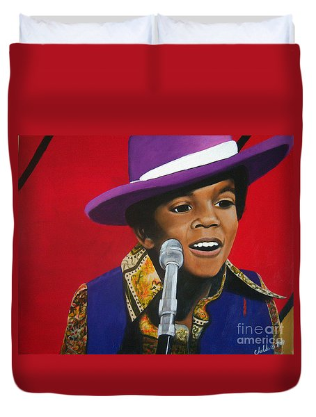 Young Michael Jackson Singing Duvet Cover