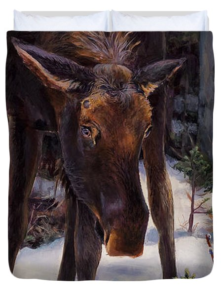 Young Moose And Snowy Forest Springtime In Alaska Wildlife Home Decor Painting Duvet Cover
