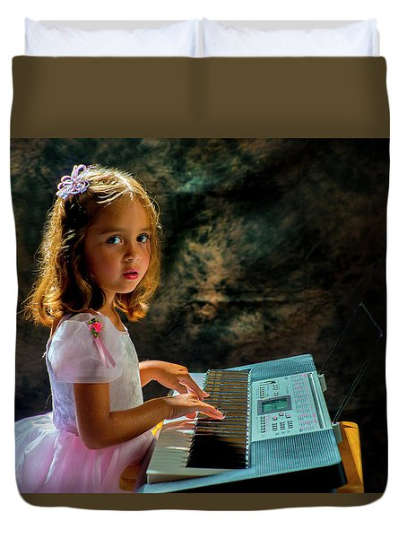 Young Musician Duvet Cover by Kevin Cable