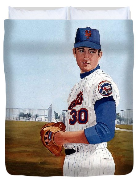 Young Nolan Ryan - With Mets Duvet Cover