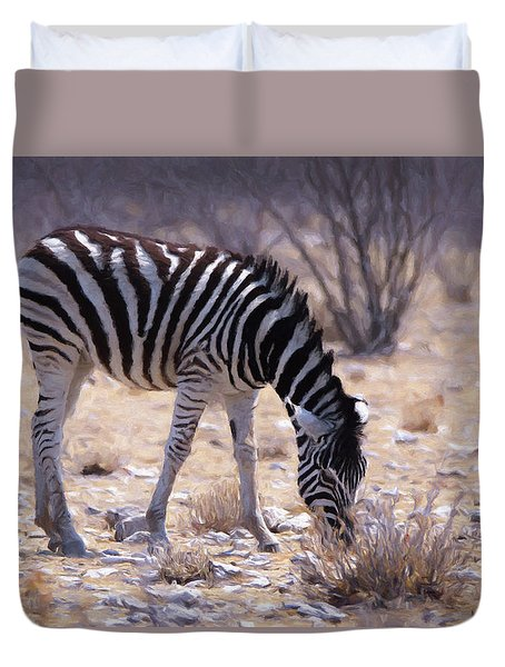 Duvet Cover featuring the digital art Young Plains Zebra by Ernie Echols