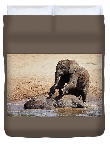 Duvet Cover featuring the photograph Young Playful African Elephants by Nick Biemans