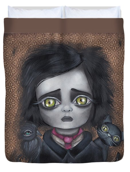 Young Poe Duvet Cover
