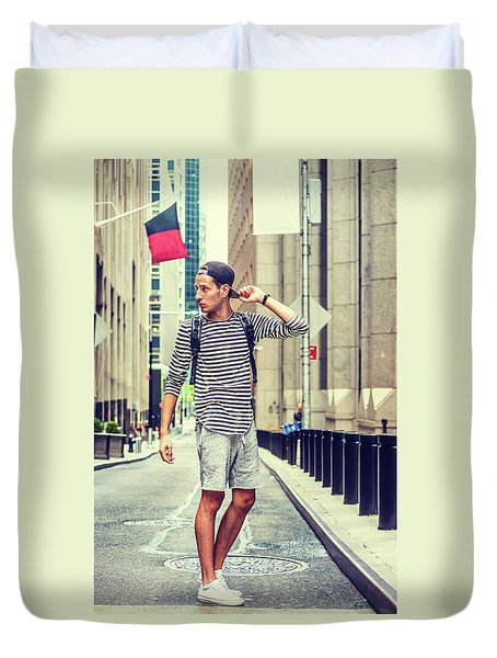 Young Russian Man Traveling In New York Duvet Cover