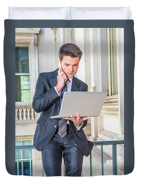 Young School Boy Working Remotely 15042510 Duvet Cover