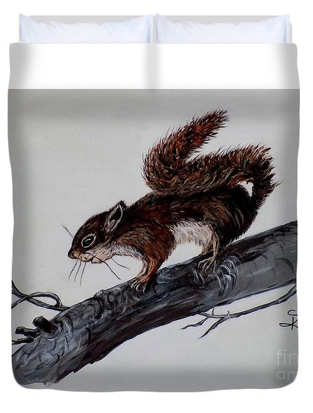 Duvet Cover featuring the painting Young Squirrel by Judy Kirouac
