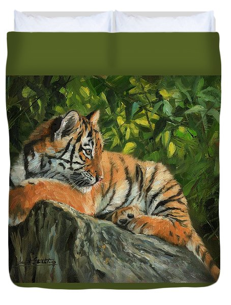 Duvet Cover featuring the painting Young Tiger Resting On Rock by David Stribbling