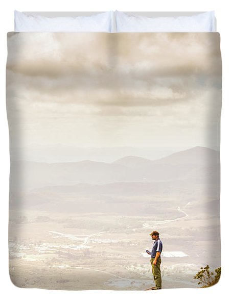 Young Traveler Looking At Mountain Landscape Duvet Cover