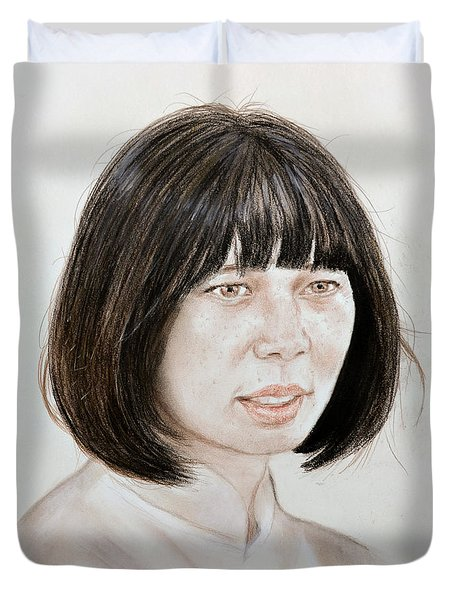Duvet Cover featuring the mixed media Young Vietnamese Woman by Jim Fitzpatrick