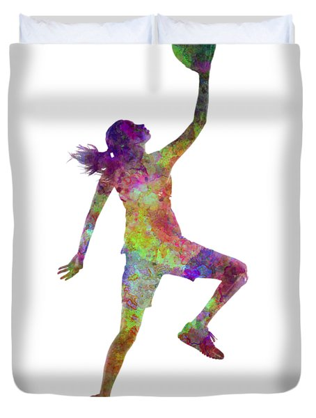 Young Woman Basketball Player 02 In Watercolor Duvet Cover