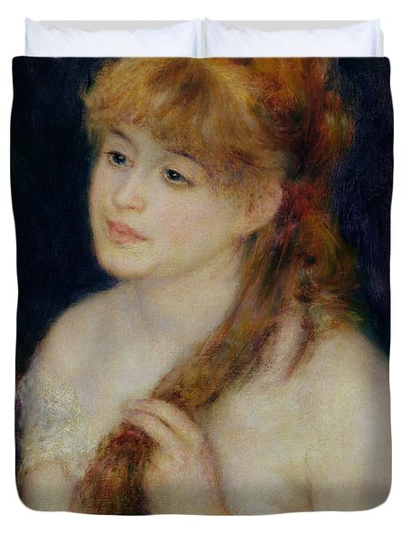 Young Woman Braiding Her Hair Duvet Cover by Pierre Auguste Renoir
