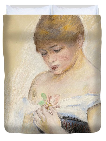 Young Woman Holding A Flower. Portrait Of Jeanne Samary Duvet Cover