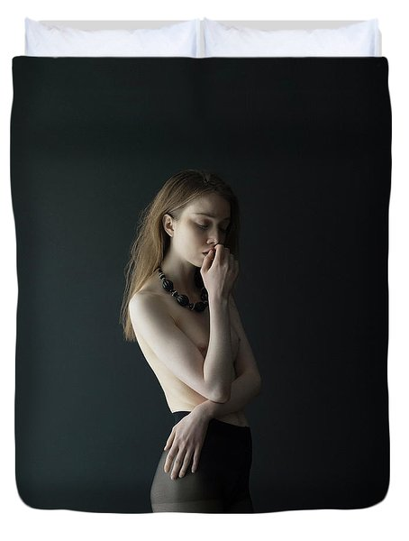 Young Woman In Pantyhose Duvet Cover