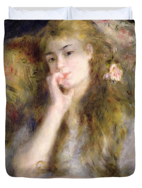 Young Woman Seated Duvet Cover by Pierre Auguste Renoir
