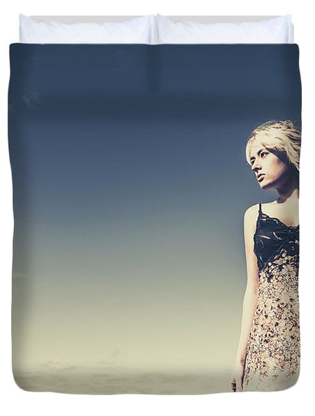 Young Woman Standing On The Beach Duvet Cover