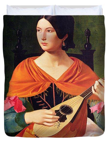 Young Woman With A Mandolin Duvet Cover by Vekoslav Karas