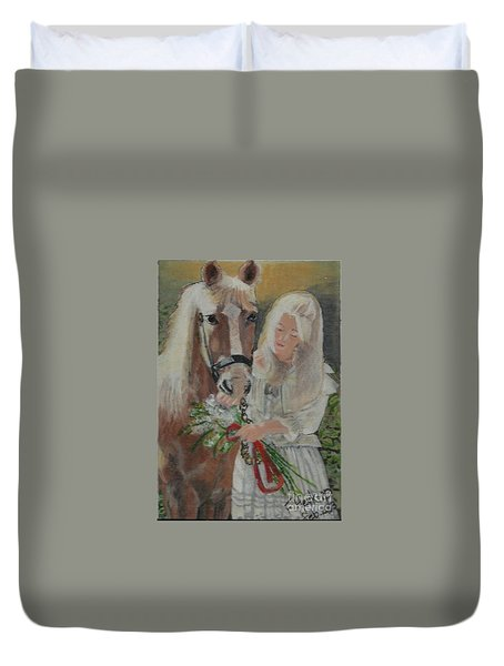 Young Woman With Horse Duvet Cover