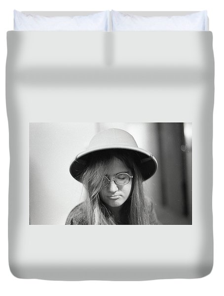 Young Woman With Long Hair, Wearing A Pith Helmet, 1972 Duvet Cover