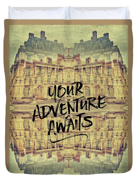 Your Adventure Awaits France Fontainebleau Chateau French Archit Duvet Cover