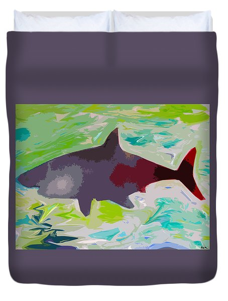 Duvet Cover featuring the painting Your Friendly Shark by Robert Margetts