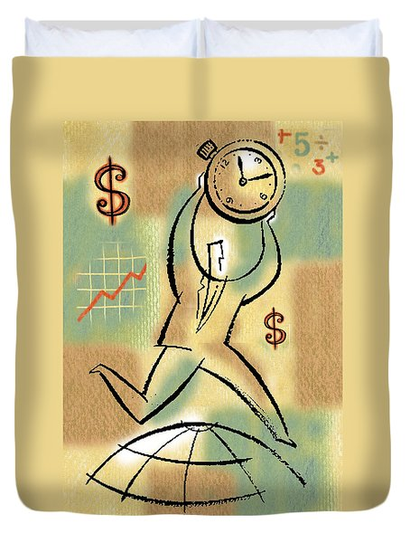 Duvet Cover featuring the painting Your Income by Leon Zernitsky