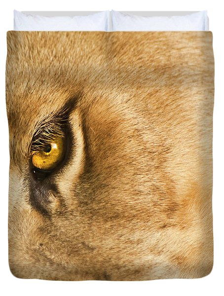 Duvet Cover featuring the photograph Your Lion Eye by Carolyn Marshall