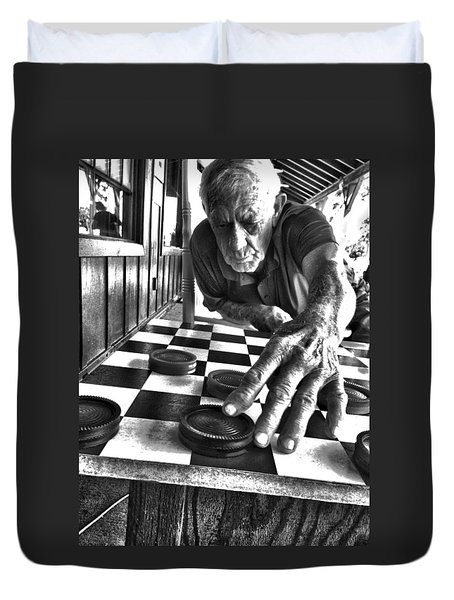 Your Move Dad Bw Art Duvet Cover by Lesa Fine