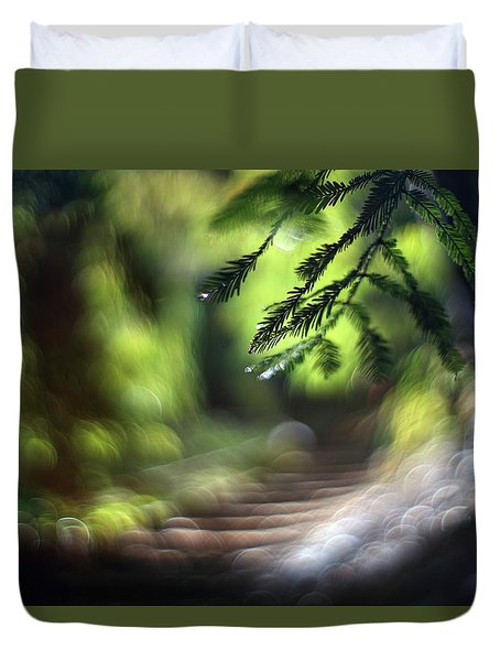 Duvet Cover featuring the photograph Your Stairway Lies On The Whispering Wind by Quality HDR Photography