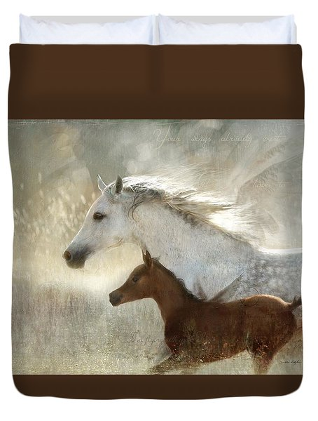 Duvet Cover featuring the digital art Your Wings Exist  by Dorota Kudyba