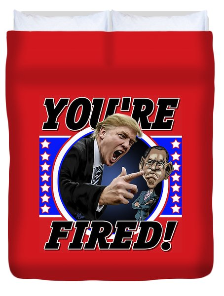 Duvet Cover featuring the photograph You're Fired by Don Olea