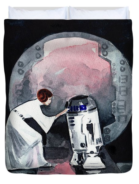 You're My Only Hope Princess Leia And R2d2 Duvet Cover