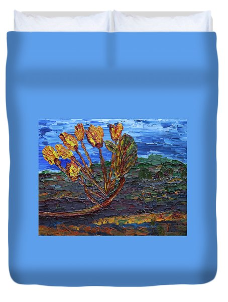 Duvet Cover featuring the painting Youth Time by Vadim Levin