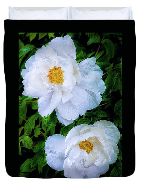 Duvet Cover featuring the photograph Yu Ban Bai Chinese Tree Peonies by Julie Palencia