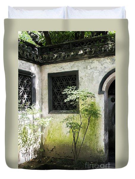Duvet Cover featuring the photograph Yuan Garden by Angela DeFrias