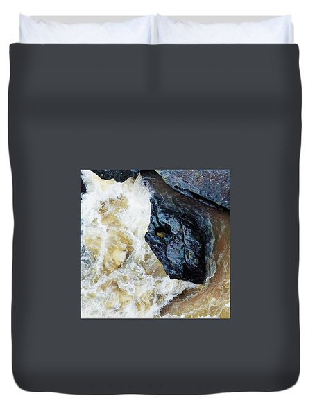 Yuba Blue Boulder In Stormy Waters Duvet Cover