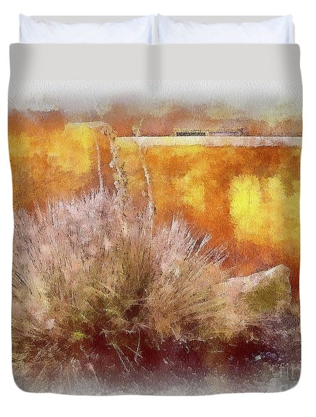 Yucca And Adobe In Aquarelle Duvet Cover